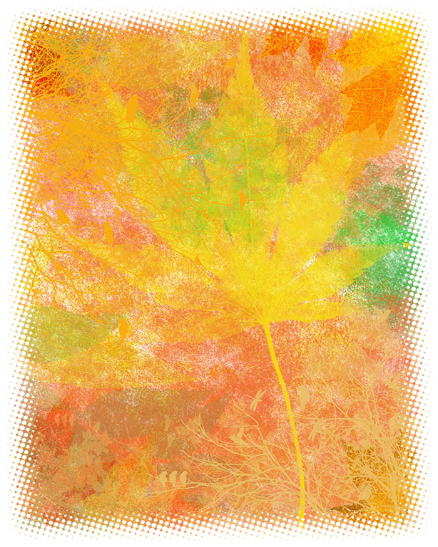 autumn leaves sponge painting