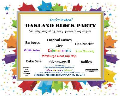 Oakland Block Party invitation
