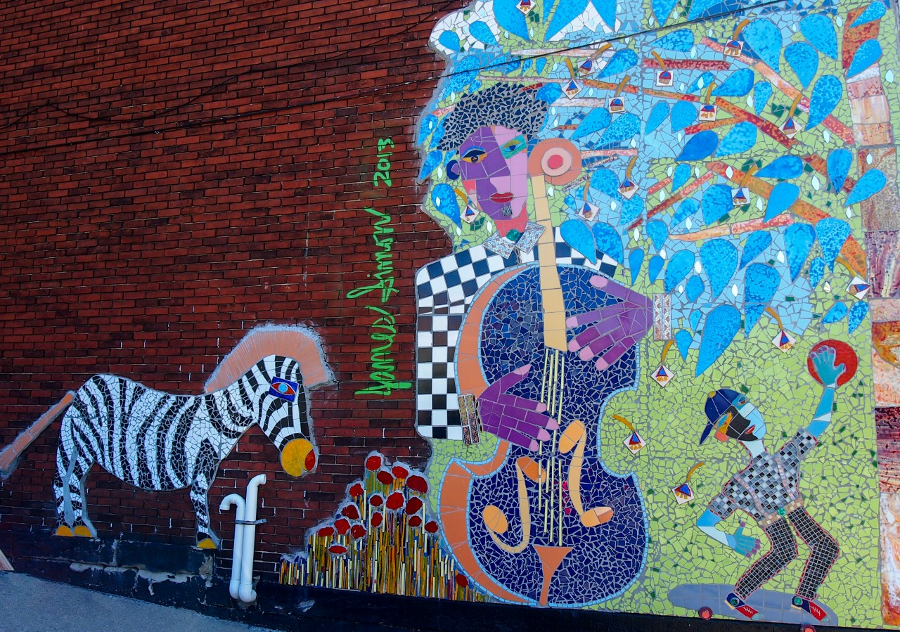 Mural with Bass Player and Zebra