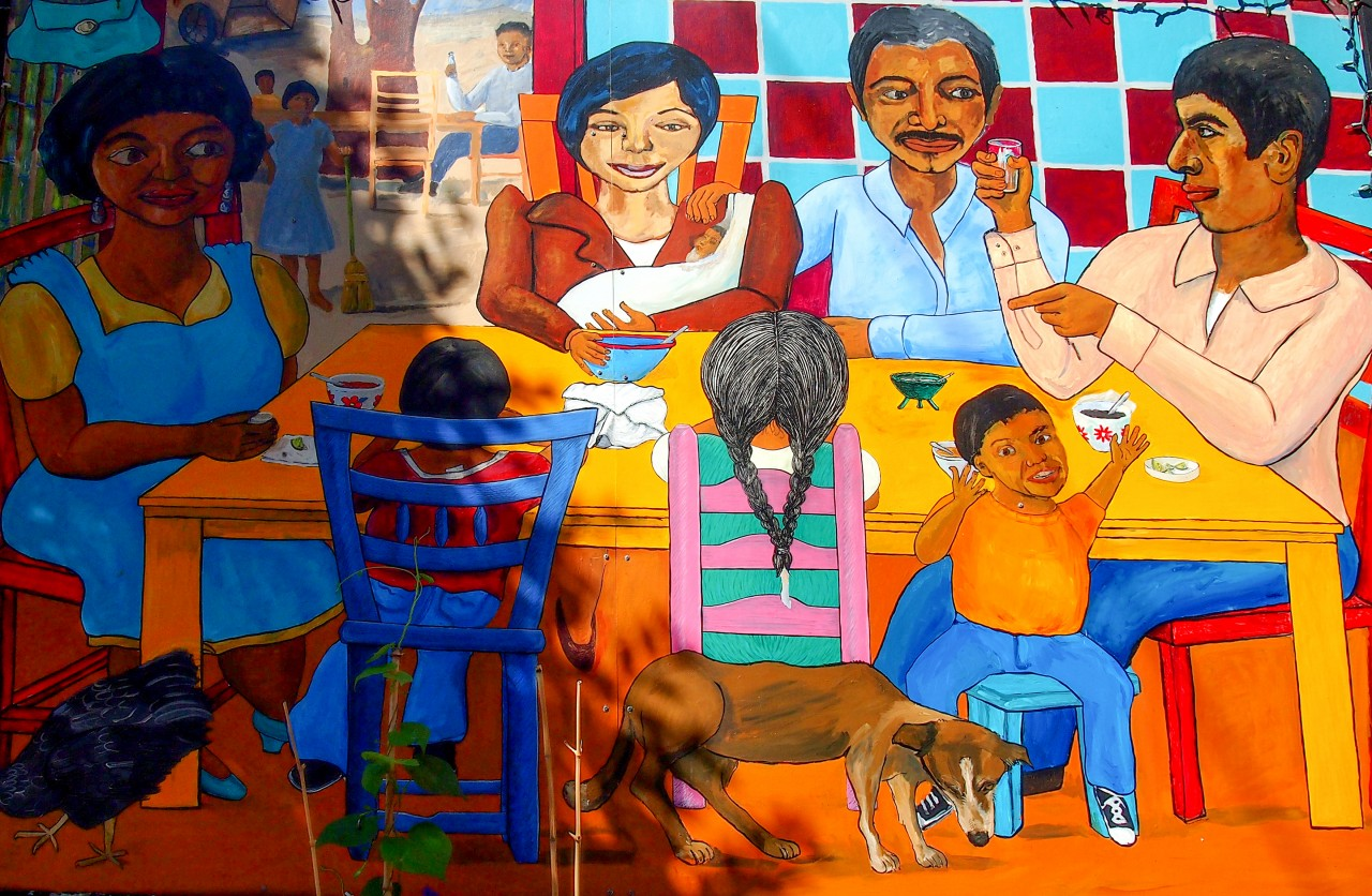 Mural of Family Dining Together