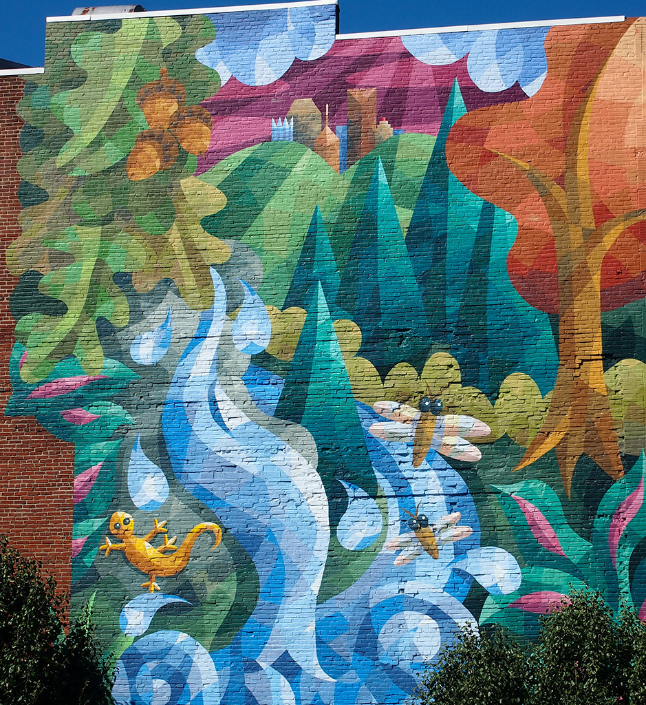 Mural with Gecko and Fireflies