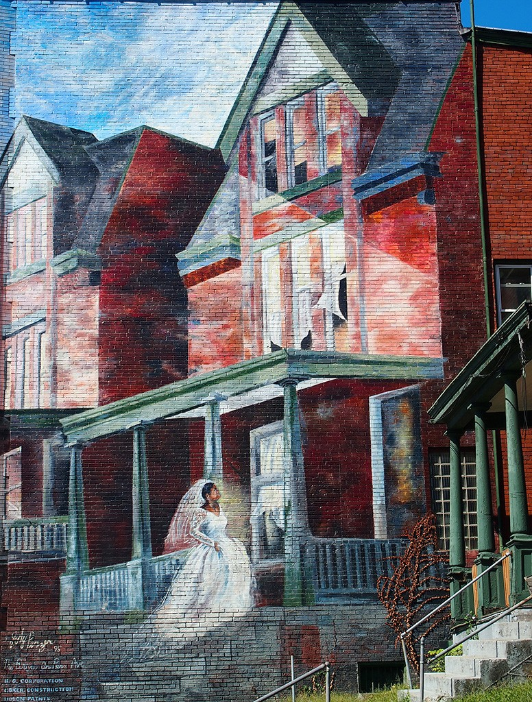 Mural of Bride entering a house on Penn Avenue, Garfield, Pittsburgh, PA